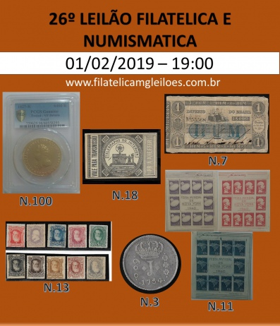 24º Leilão de Filatelia e Numismática Filatélica MG Leilões