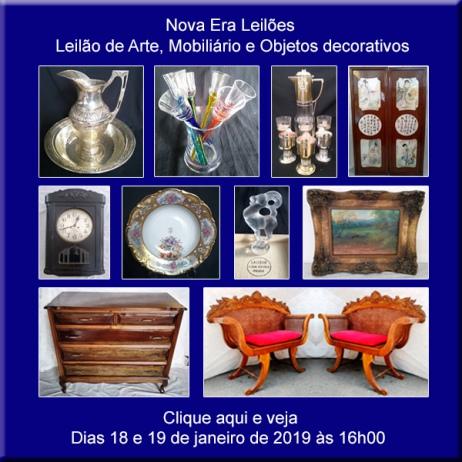 LEILÃO DE ARTES, ANTIGUIDADES E OBJETOS DECORATIVOS