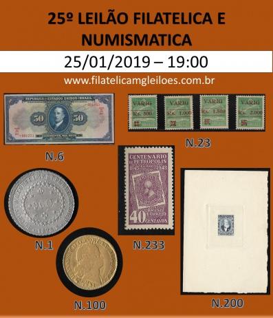 25º Leilão de Filatelia e Numismática Filatélica MG Leilões