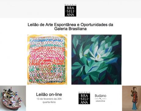 LEILÃO DE ARTE ESPONTÂNEA E OPORTUNIDADES - GALERIA BRASILIANA