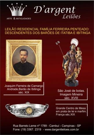 LEILÃO RESIDENCIAL FAMÍLIA FERREIRA PENTEADO: DESCENDENTES DOS BARÕES DE ITATIBA E IBITINGA