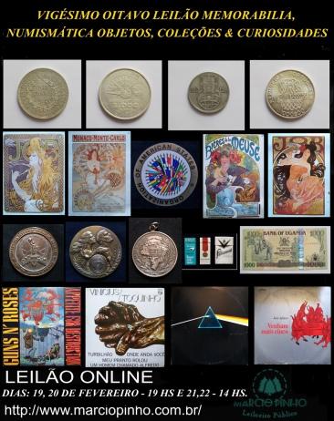 Vigésimo-Oitavo Leilão Memorabilia, Numismática, Objetos, Coleções e Curiosidades