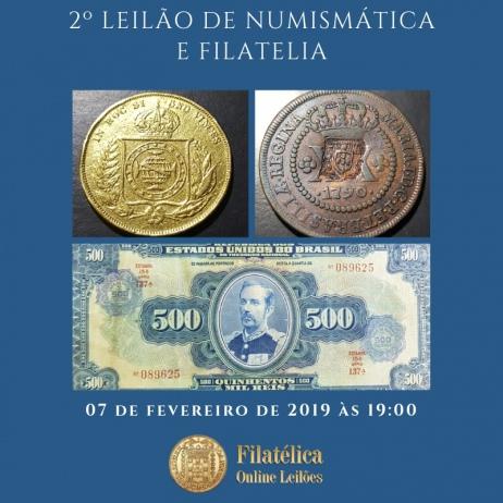 2º LEILÃO DE NUMISMÁTICA E FILATELIA DA FILATELICA ONLINE LEILÕES