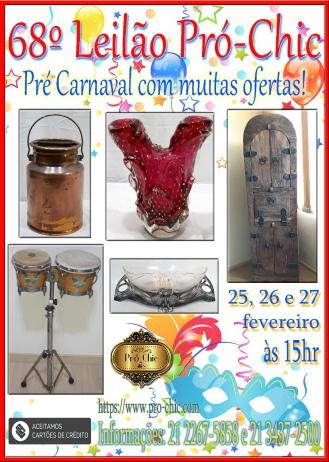 68º  LEILÃO   PRO CHIC - Pre Carnaval com muitas ofertas!