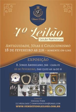 4º LEILÃO ANTIGUIDADES, JOIAS E COLECIONISMO