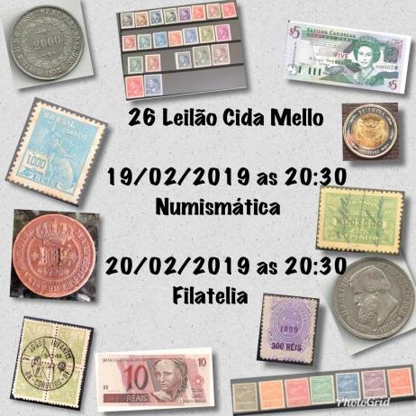 26º LEILÃO CIDA MELLO NUMISMÁTICA E FILATELIA