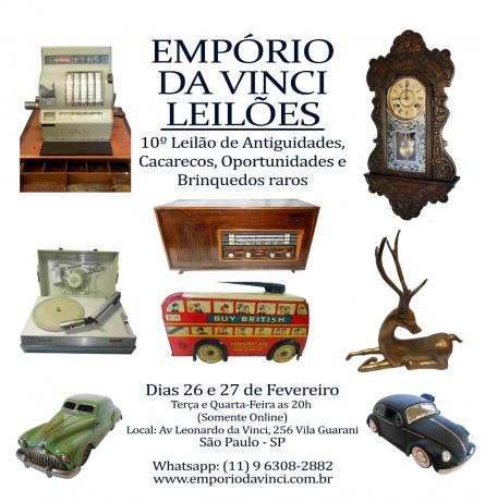 10º Leilão do Empório da Vinci de Antiguidades - Cacarecos - Oportunidades e Brinquedos Raros.
