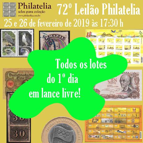 72º Leilão de Filatelia e Numismática - Philatelia Selos e Moedas