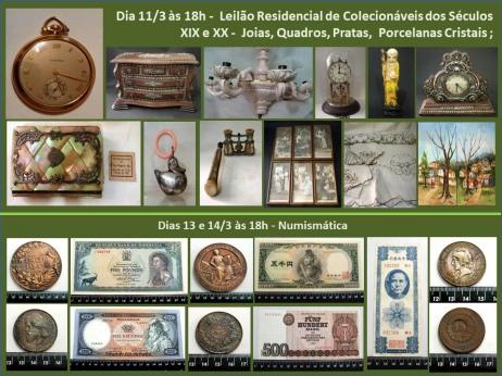 LEILÃO RESIDENCIAL DE COLECIONÁVEIS SÉCULOS XIX E XX, QUADROS, JOIAS,PORCELANAS E 2 DIAS NUMISMÁTICA