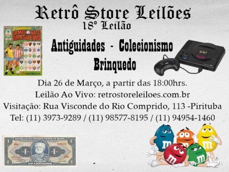 18 º Leilão de Brinquedos, Colecionismo e Antiguidades