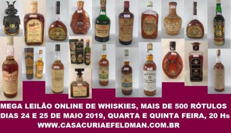 LEILÃO DE WHISKIES , 800 GARRAFAS, COLEÇÃO DE MEMBRO DA ASSOCIAÇÃO DE COLECIONADORES DE WHISKY