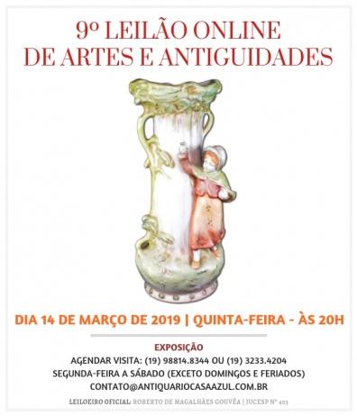 9º LEILÃO DE ARTES E ANTIGUIDADES - 14/03//2019 - 20h