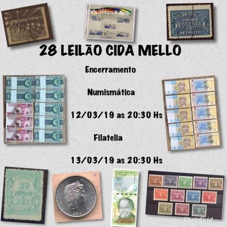28º LEILÃO CIDA MELLO NUMISMÁTICA E FILATELIA