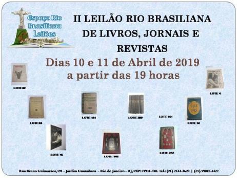 II LEILÃO RIO BRASILIANA DE LIVROS, Jornais e Revistas, Difíceis e de Ocasião / RJ