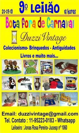 9º Leilão Bota Fora de Carnaval-Colecionismo-Brinquedos-Antiguidades e muito mais...