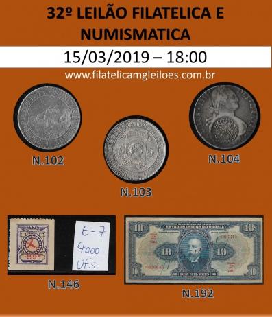 32º Leilão de Filatelia e Numismática Filatélica MG Leilões