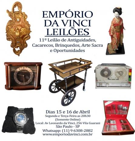 11º Leilão do Empório da Vinci. Antiguidades, Cacarecos, Brinquedos, Arte Sacra e Oportunidades