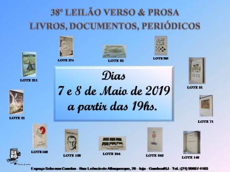 38º LEILÃO VERSO & PROSA - LIVROS EM GERAL, PERIÓDICOS & OUTROS