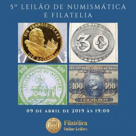 5º LEILÃO DE NUMISMÁTICA E FILATELIA - FILATÉLICA ONLINE LEILÕES