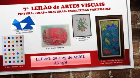 7º LEILÃO de ARTES VISUAIS PINTURA - JOIAS  GRAVURAS - ESCULTURAS VARIEDADES