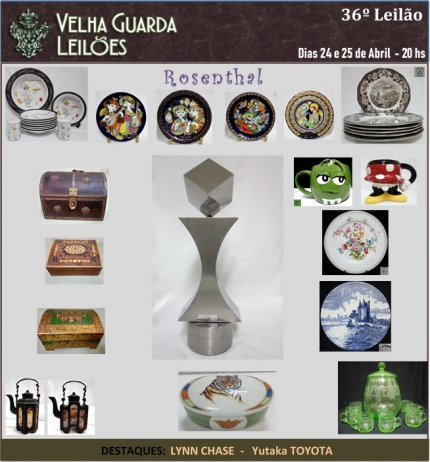 36º LEILÃO VELHA GUARDA LEILÕES - Arte, Antiguidades, Decorações e Colecionismo.