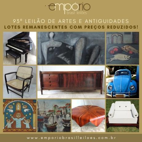 93º Leilão de Artes & Antiguidades - Especial de Lotes Remanescentes Com Preços Reduzidos!!!