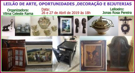 LEILÃO DE ARTE, OPORTUNIDADES ,DECORAÇÃO E BIJUTERIAS