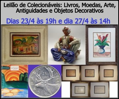 Leilão de Colecionáveis: Livros e Moedas, Arte, Antiguidades, Objetos Decorativos e Colecio