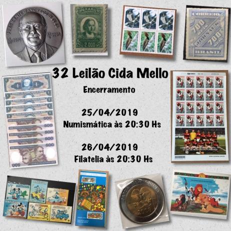32º LEILÃO CIDA MELLO NUMISMÁTICA E FILATELIA