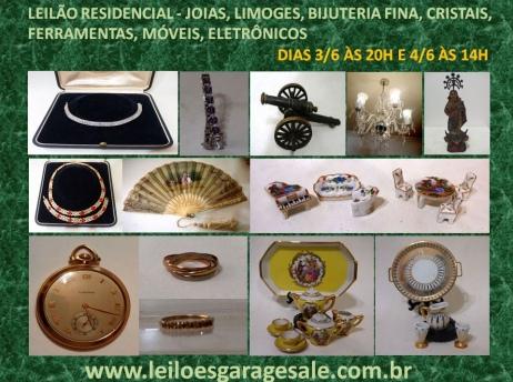 LEILÃO  RESIDENCIAL - JOIAS, LIMOGES, BIJUTERIA FINA, CRISTAIS, FERRAMENTAS,  MÓVEIS, ELETRÔNICOS