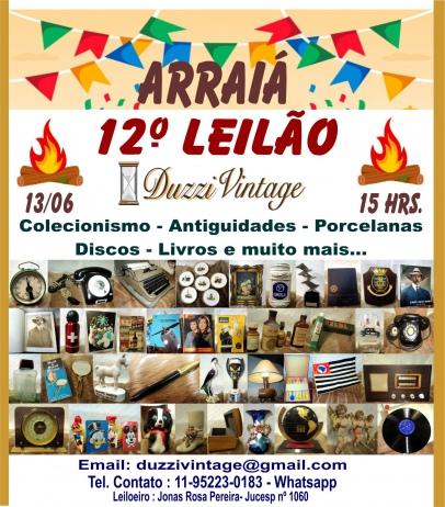 12º Leilão ARRAIÁ DUZZIVINTAGE-Colecionismo-Antiguidades-Porcelanas-Discos-Livros e muito mais