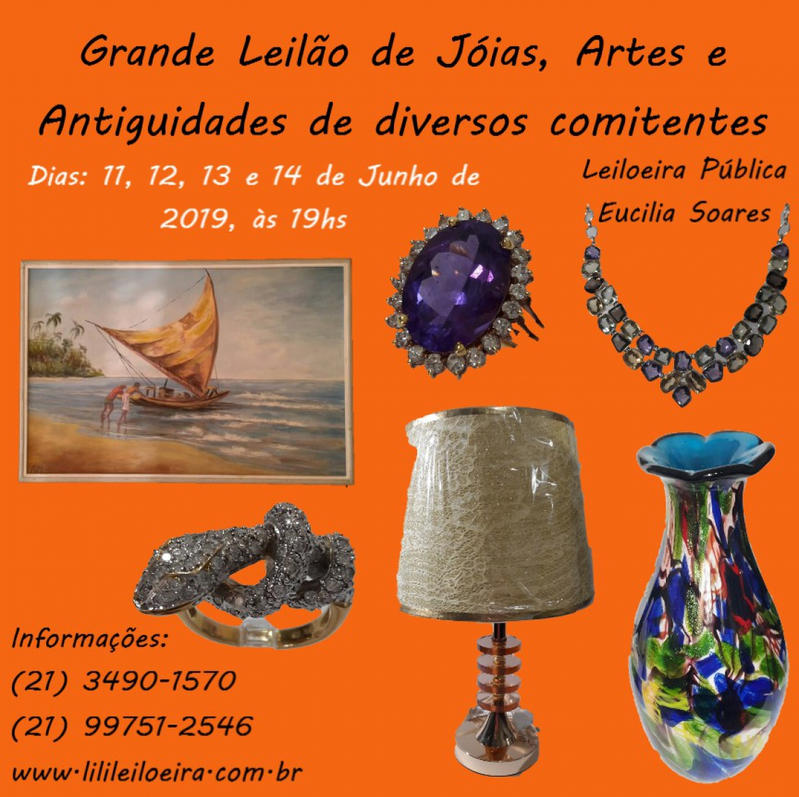 GRANDE LEILÃO DE JÓIAS,  ARTES, NUMISMÁTICA E ANTIGUIDADES, DE DIVERSOS COMITENTES
