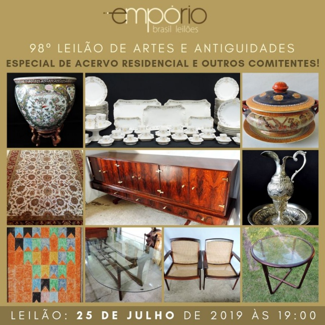 98º Leilão de Artes & Antiguidades - Especial de Acervo Residencial e Outros Comitentes!