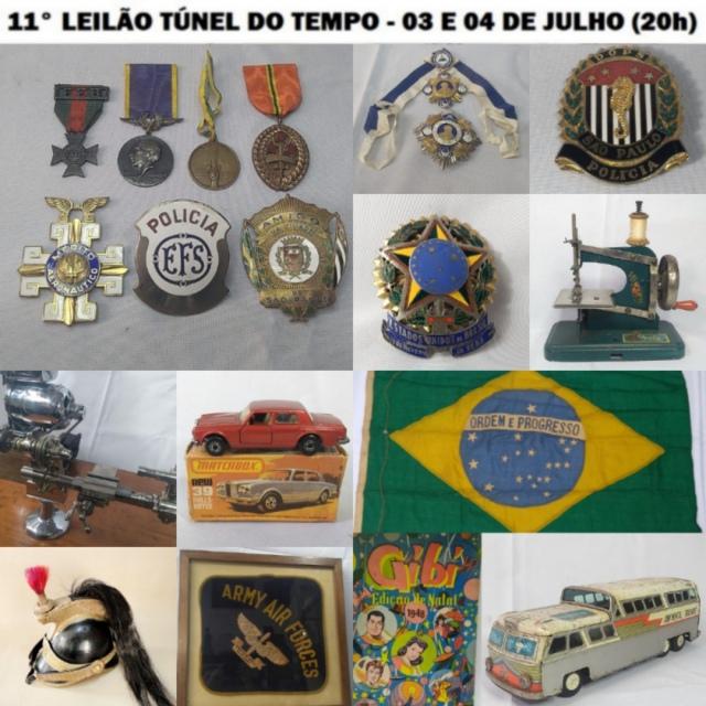 11º LEILÃO TÚNEL DO TEMPO: MILITARIA, RELÓGIOS, COLECIONISMO, CUTELARIA,  BRINQUEDOS ANTIGOS