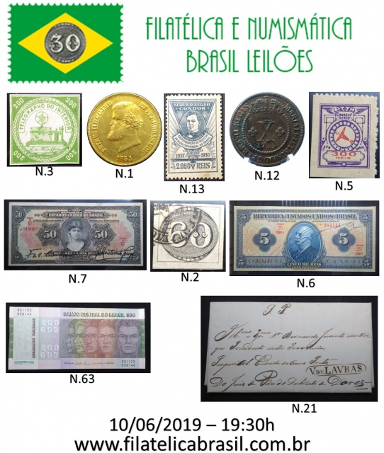 XXII LEILÃO DE COLECIONISMO FILATÉLICA E NUMISMÁTICA BRASIL
