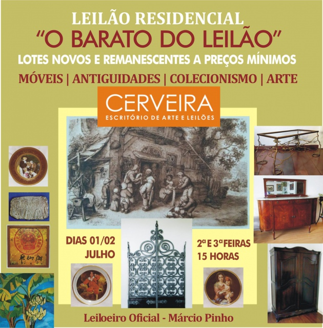 LEILÃO RESIDENCIAL - O BARATO DO LEILÃO - LOTES A PREÇOS MÍNIMOS. ANTIGUIDADES | ARTE | COLECIONISMO