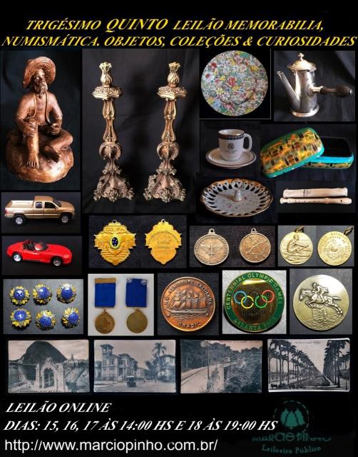 Trigésimo Quinto Leilão Memorabilia, Numismática, Objetos, Coleções e Curiosidades