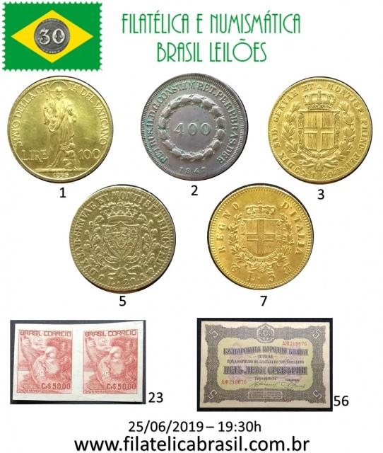 XXIV LEILÃO DE COLECIONISMO FILATÉLICA E NUMISMÁTICA BRASIL