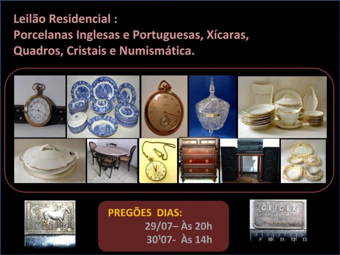 Leilão Residencial  Joias, Porcelanas Inglesas e  Portuguesas, Xícaras, Quadros, Cristais.