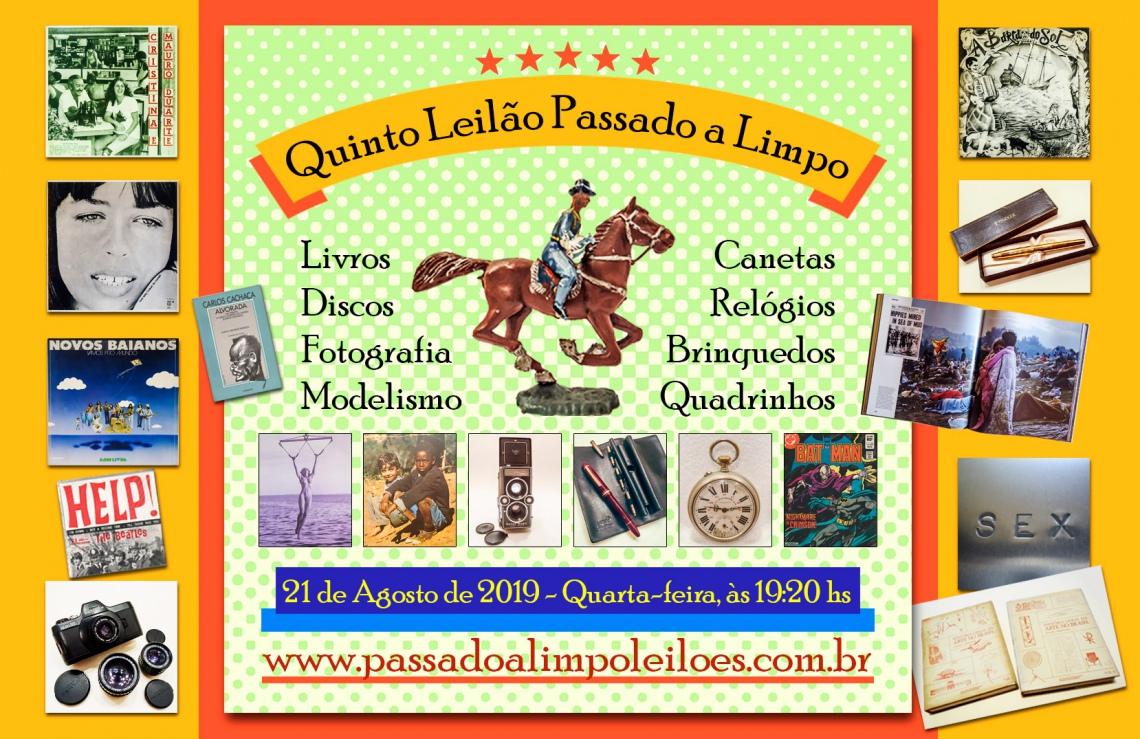 5º LEILÃO PASSADO A LIMPO - Livros, Discos, Fotografia, Modelismo, Canetas, Relógios e Brinquedos