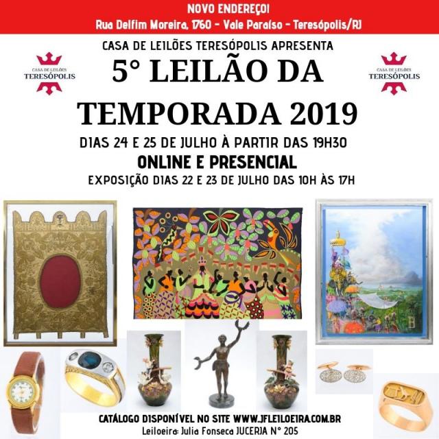 5º Grande Leilão da Temporada 2019 - Casa de Leilões Teresópolis