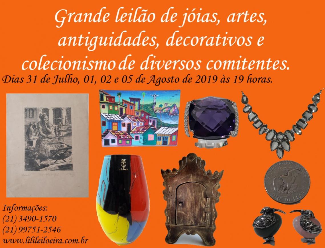 GRANDE LEILÃO DE JÓIAS, ARTES,  ANTIGUIDADES, DECORATIVOS E COLECIONISMO DE DIVERSOS COMITENTES