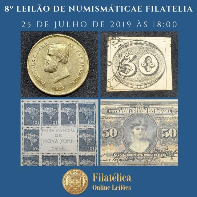 8º LEILÃO DE NUMISMÁTICA E FILATELIA - FILATÉLICA ONLINE LEILÕES