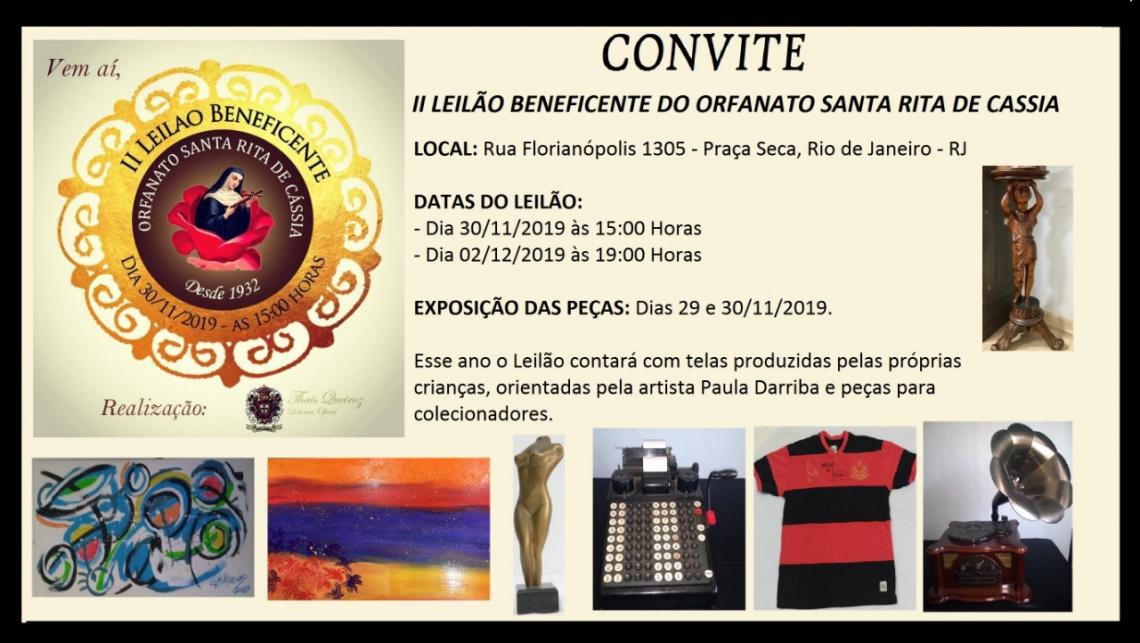 SEGUNDO LEILÃO BENEFICENTE DO ORFANATO SANTA RITA DE CASSIA.