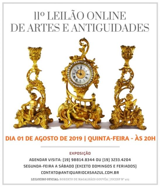 11 LEILÃO DE ARTES E ANTIGUIDADES - 01/08/2019 - 20h