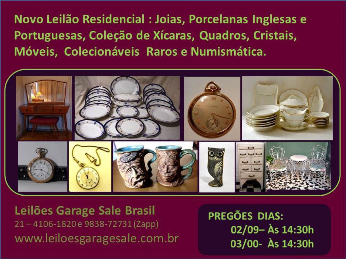 LEILÃO RESIDENCIAL SÉCULO XIX - JOIAS, PORCELANAS INGLESAS,  CRISTAIS, MÓVEIS, QUADROS E NUMISMÁTICA