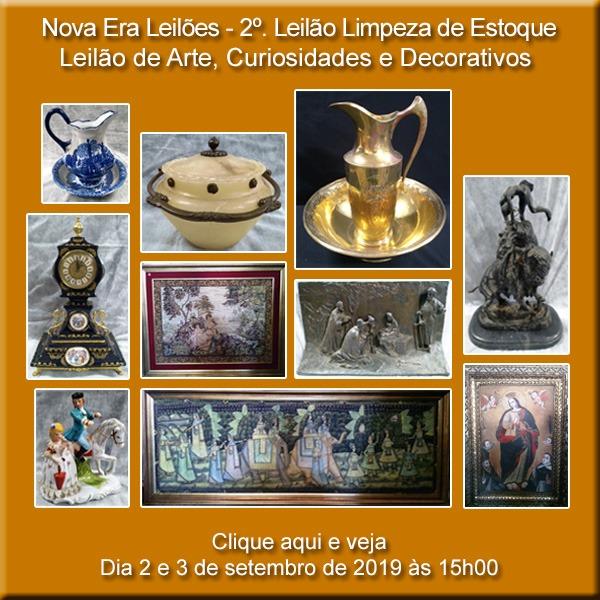 2º LEILÃO DE LIMPEZA DE ESTOQUE - CURIOSIDADES E DECORATIVOS - 02, 03/09/2019 ÀS 15H00
