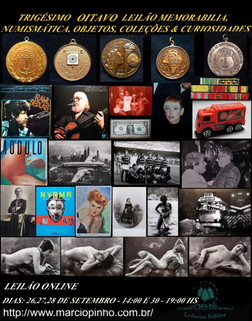 Trigésimo Oitavo Leilão Memorabilia, Numismática, Objetos, Coleções e Curiosidades
