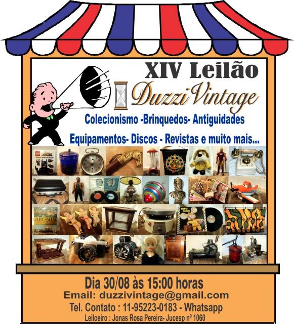 XIV LEILÃO DUZZIVINTAGE - Colecionismo-Brinquedos-Antiguidades-Equipamentos-Discos-Revistas e mais