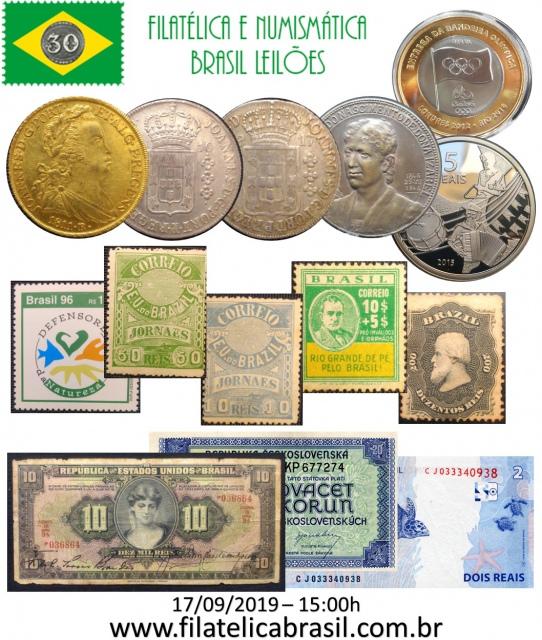 XXXVII LEILÃO DE COLECIONISMO FILATÉLICA E NUMISMÁTICA BRASIL